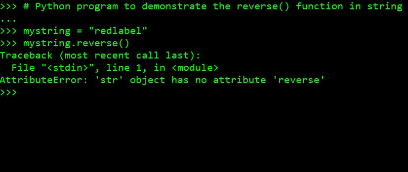Python program to demonstrate the reverse() function in string