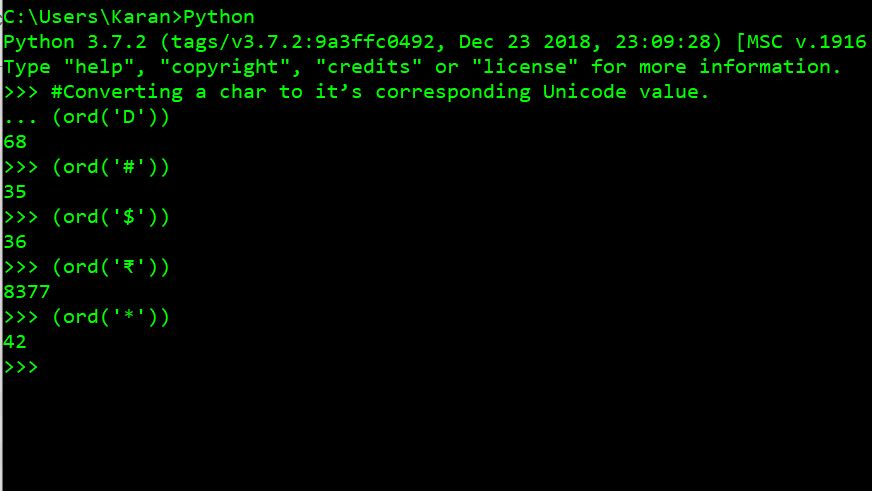 Python ord() Function Example