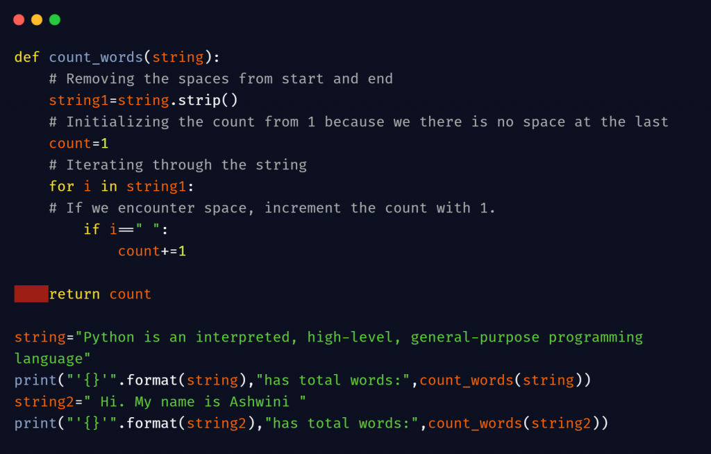 python count words in string
