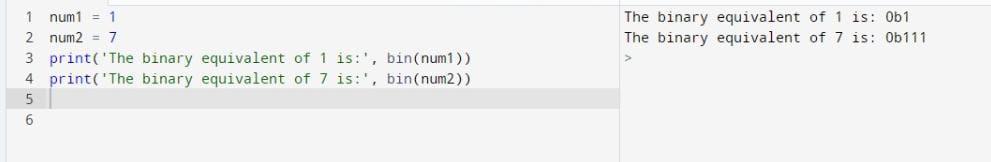 Python int to Binary Using bin() function