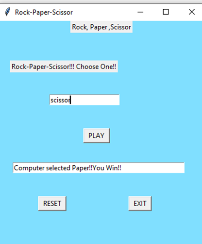 This is the output of our code which can be used by a user to play rock paper scissor python