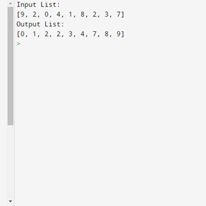 This is the output that will be received by running the provided strand sort in python