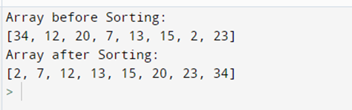 Output for shell sort code in python