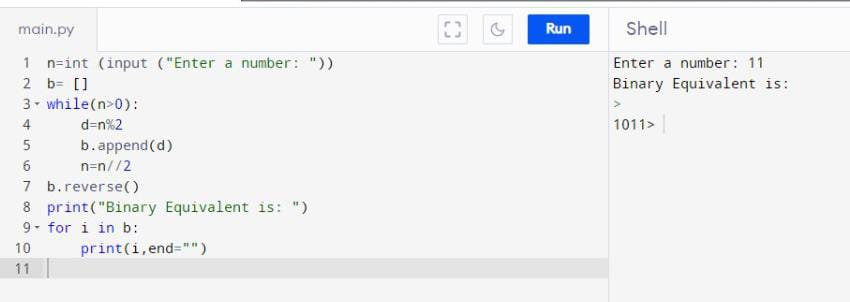 Traditional method to Convert Python int to Binary (without any function):