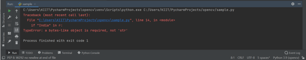 Type error: a byte-like object is required not 'str'