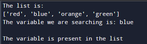 Check if a variable exists in a list in Python: