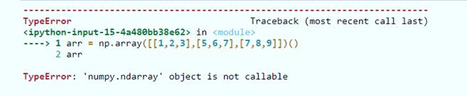 NumPy ndarray object is not callable error