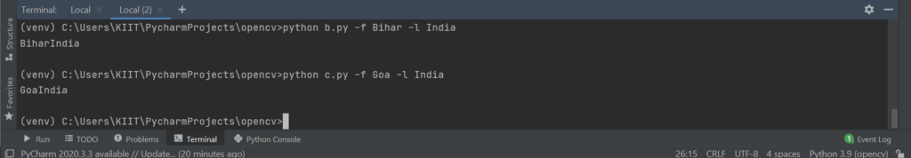Python getopt