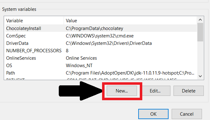 New button in the top half of the dialog to make a new user variable.