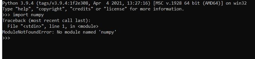 No Module Numpy Error