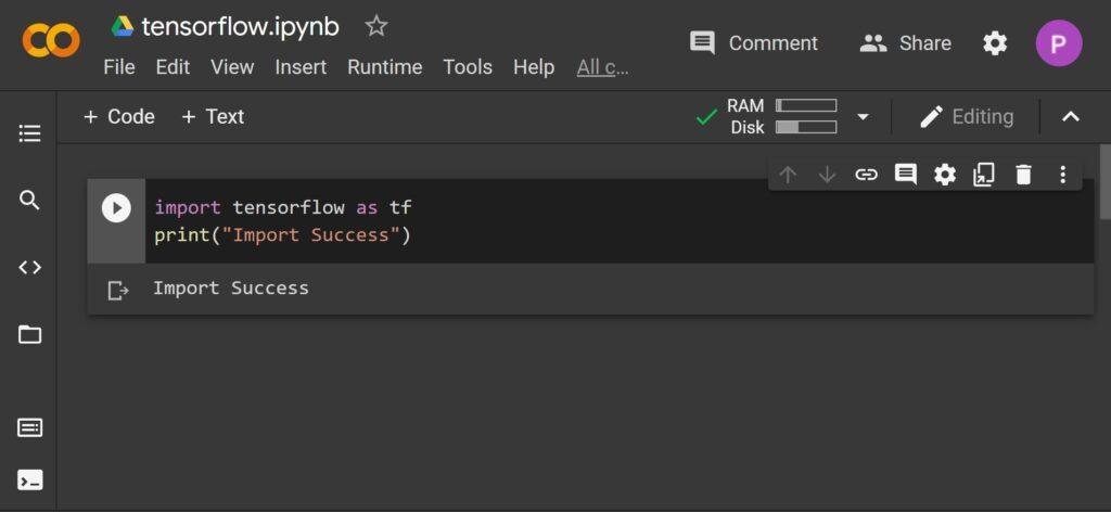 Using Tensorflow in Colab