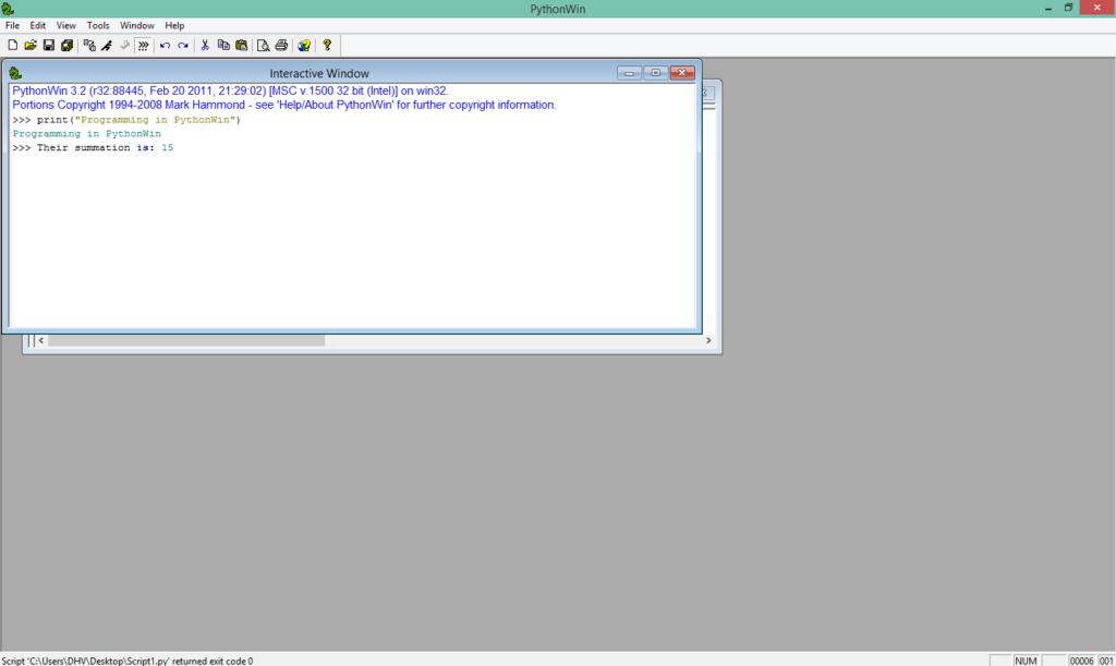 pythonwin running script