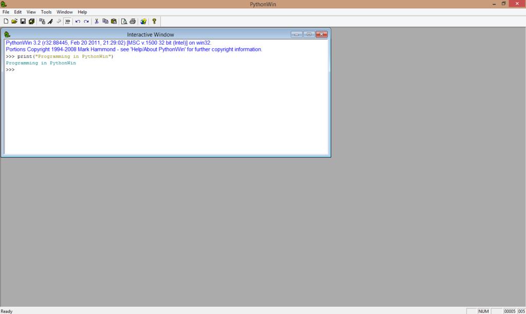 pythonwin executing code
